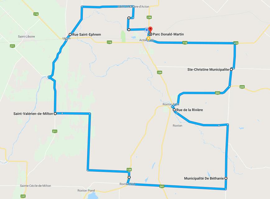 Défi Cycliste Fondation Daigneault Guauthier trajets 100 km